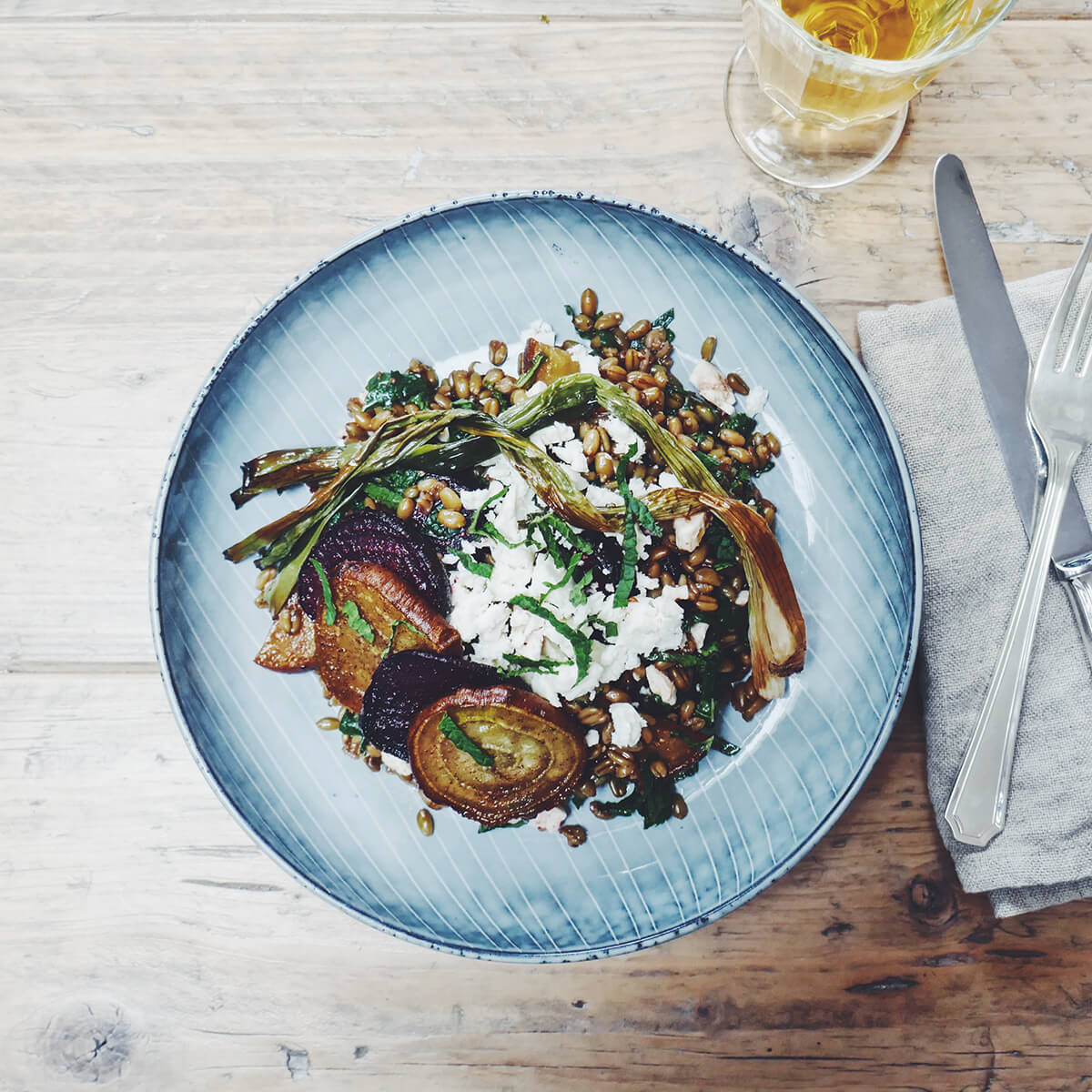 Broth Braised Freekeh Salad with Roasted Beets, Charred Spring Onion, Feta & Mint